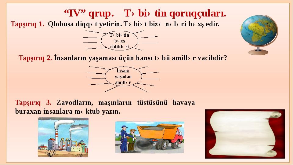 """""""IV"""" qrup. Təbiətin qoruqçuları. Tapşırıq 1. Qlobusa diqqət yetirin. Təbiət..."""