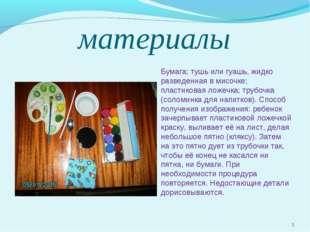материалы Бумага; тушь или гуашь, жидко разведенная в мисочке; пластиковая ло