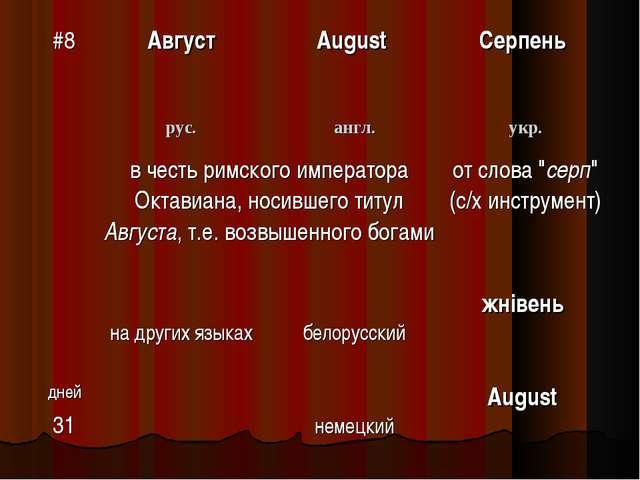 #8АвгустAugust Серпень рус.англ.укр. в честь римского императора Октави...