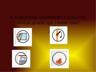 4. Какой знак напоминает о том, чего нельзя делать при утечке газа? А) В) Б) Г)
