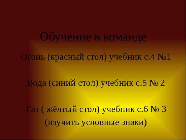 Обучение в команде Огонь (красный стол) учебник с.4 №1 Вода (синий стол) учеб...