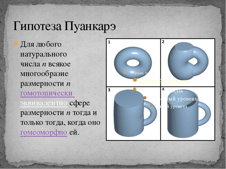 Гипотеза Пуанкарэ Для любого натурального числаnвсякое многообразие размерн...
