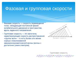 Фазовая скорость — скорость перемещения точки, обладающей постоянной фазой ко