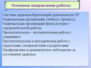 Система здоровьесберегающей деятельности ОУ Рациональная организация учебного