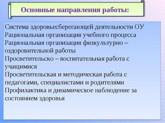 Система здоровьесберегающей деятельности ОУ Рациональная организация учебного...