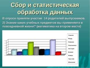 Сбор и статистическая обработка данных В опросе приняли участие 14 родителей