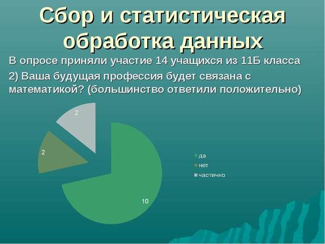 Сбор и статистическая обработка данных В опросе приняли участие 14 учащихся и...