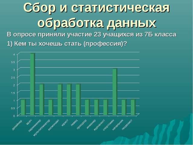 Сбор и статистическая обработка данных В опросе приняли участие 23 учащихся и...