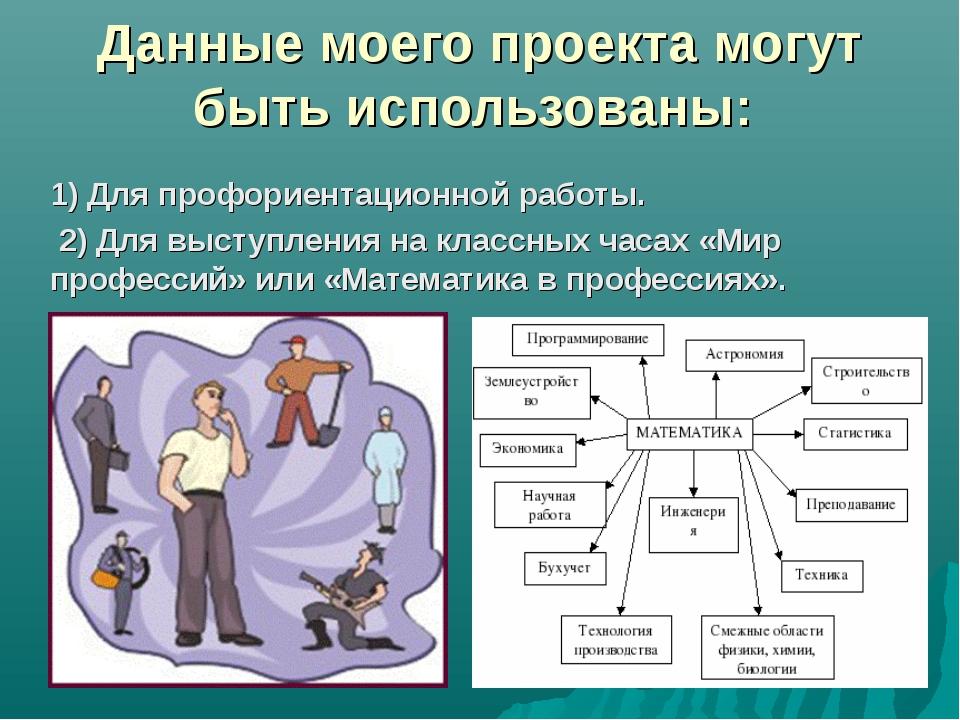 Данные моего проекта могут быть использованы: 1) Для профориентационной работ...