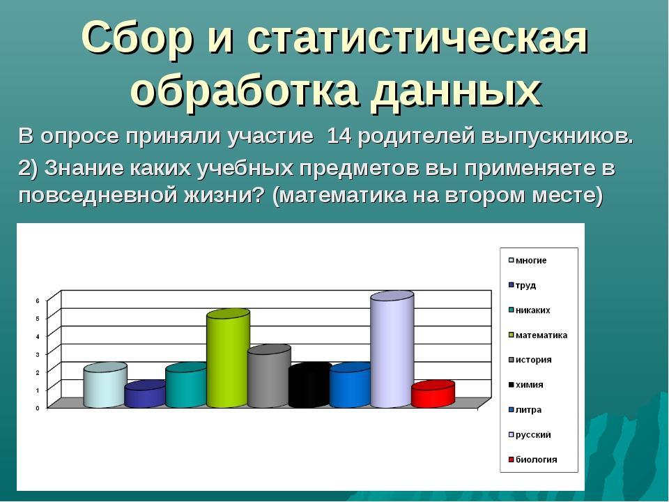 Сбор и статистическая обработка данных В опросе приняли участие 14 родителей...
