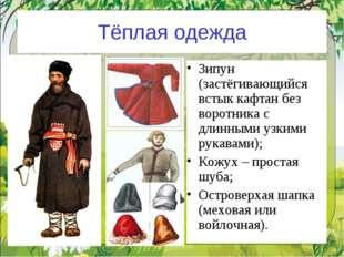 Тёплая одежда Зипун (застёгивающийся встык кафтан без воротника с длинными уз