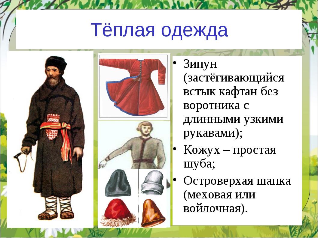 Тёплая одежда Зипун (застёгивающийся встык кафтан без воротника с длинными уз...