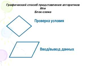 Графический способ представления алгоритмов Или Блок-схема Проверка условия В