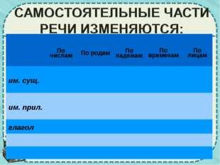 По числам По родам По падежам По временам По лицам им. сущ. им. п