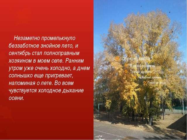 Незаметно промелькнуло беззаботное знойное лето, и сентябрь стал полноправн...
