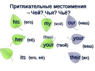 Притяжательные местоимения →Чей? Чья? Чьё? my (мой) your (твой) (Ваш) his (е