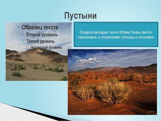 Пустыни Осадков выпадает около 200мм.Почвы светло- каштановые, в понижениях-с...