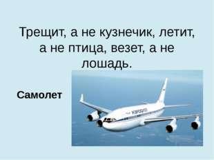 Трещит, а не кузнечик, летит, а не птица, везет, а не лошадь. Самолет