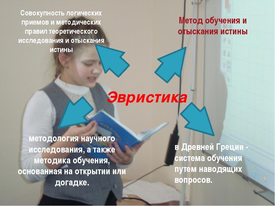 Эвристика Совокупность логических приемов и методических правил теоретическо...