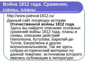 Война 1812 года. Сражения, схемы, планы http://www.patrwar1812.ru/ Данный сай