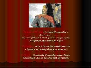 30 мая 1220 года - в городе Переславле – Залесском родился Святой благоверный