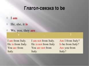 Глагол-связка to be I am He, she, it is We, you, they are + _ ? Iamfrom Italy