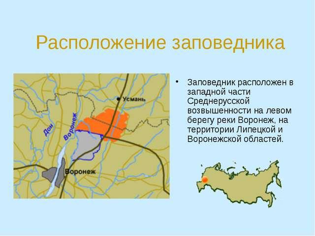 Расположение заповедника Заповедник расположен в западной части Среднерусской...