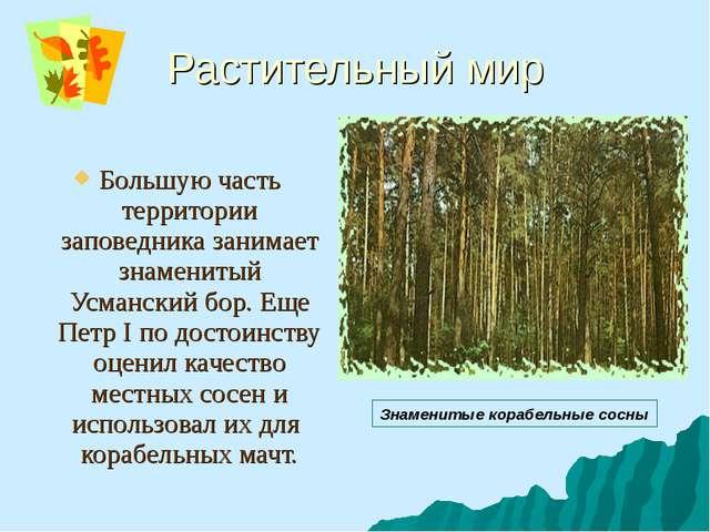 Растительный мир Большую часть территории заповедника занимает знаменитый Усм...