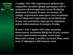 3 ноября 1915 года георгиевским орденом был награжден молодой офицер прапорщи