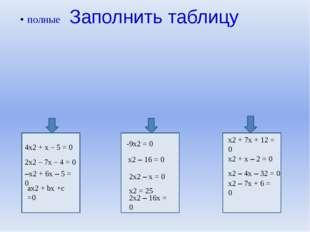 Заполнить таблицу 4х2 + х – 5 = 0 2х2 – 7х – 4 = 0 –х2 + 6х – 5 = 0 ах2 + bх