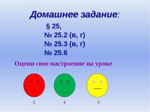 Домашнее задание: § 25, № 25.2 (в, г) № 25.3 (в, г) № 25.6 Оцени свое настрое