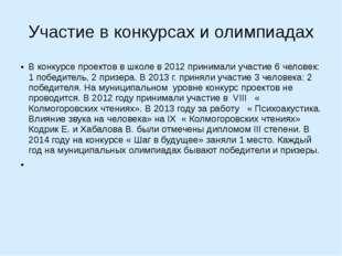 Участие в конкурсах и олимпиадах В конкурсе проектов в школе в 2012 принимали