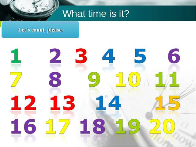 What time is it? Let's count, please. Company name