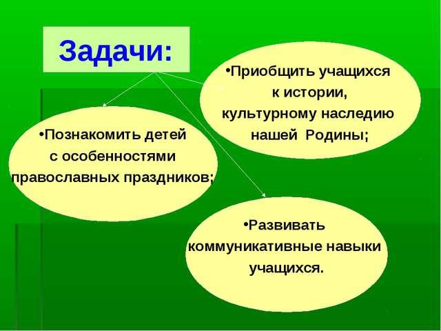 Задачи: Познакомить детей с особенностями православных праздников; Развивать...