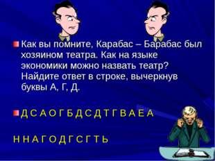 Как вы помните, Карабас – Барабас был хозяином театра. Как на языке экономики
