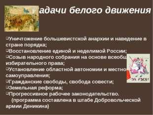 Задачи белого движения Уничтожение большевистской анархии и наведение в стран