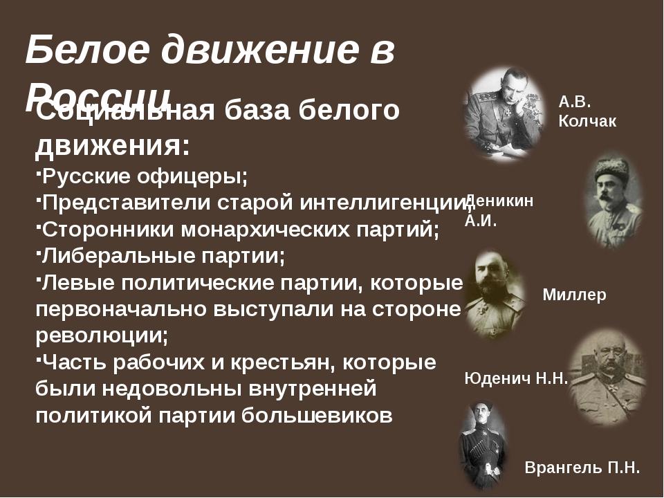 Белое движение в России Социальная база белого движения: Русские офицеры; Пре...