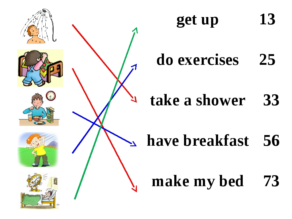 get up	13 do exercises	25 take a shower	33 have breakfast	56 make my bed	73