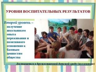 УРОВНИ ВОСПИТАТЕЛЬНЫХ РЕЗУЛЬТАТОВ Второй уровень – получение школьником опыта