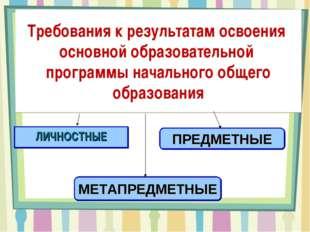 Требования к результатам освоения основной образовательной программы начально