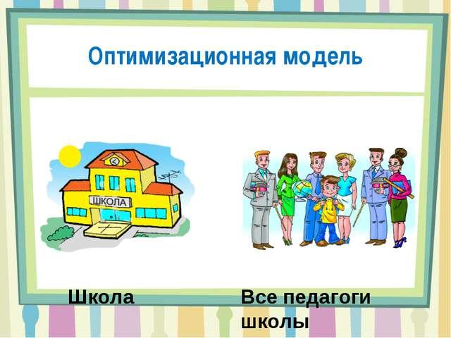 Оптимизационная модель Школа Все педагоги школы