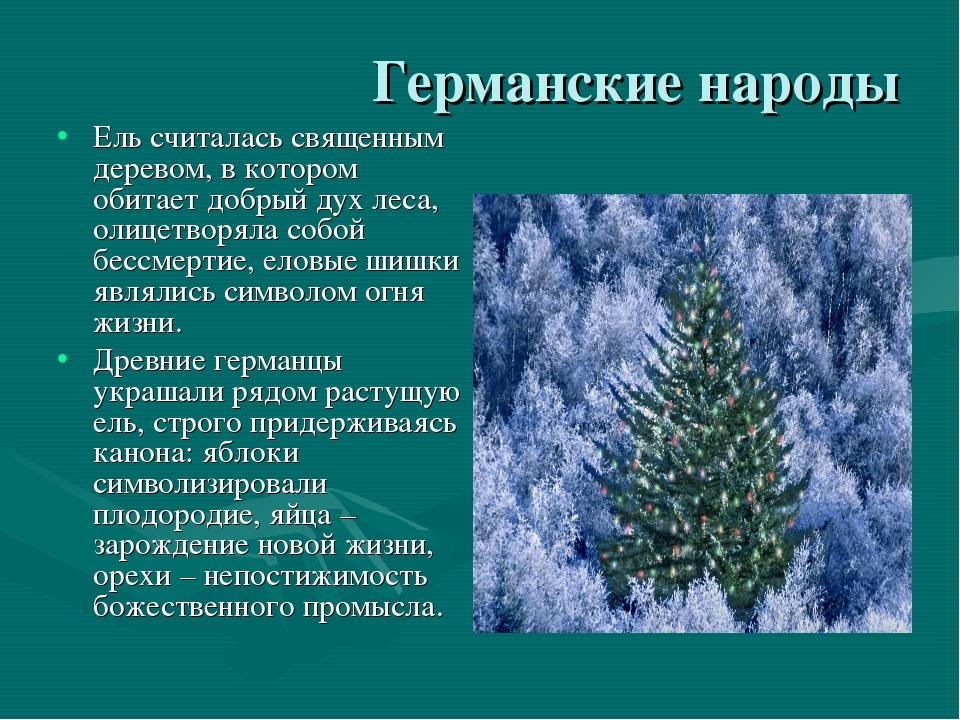 Германские народы Ель считалась священным деревом, в котором обитает добрый д...