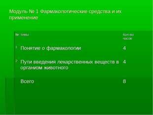 Модуль № 1 Фармакологические средства и их применение №темыКол-во часов 1П