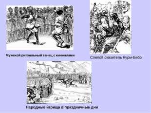 Мужской ритуальный танец с кинжалами Народные игрища в праздничные дни Слепой