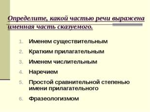 Определите, какой частью речи выражена именная часть сказуемого. Именем сущес