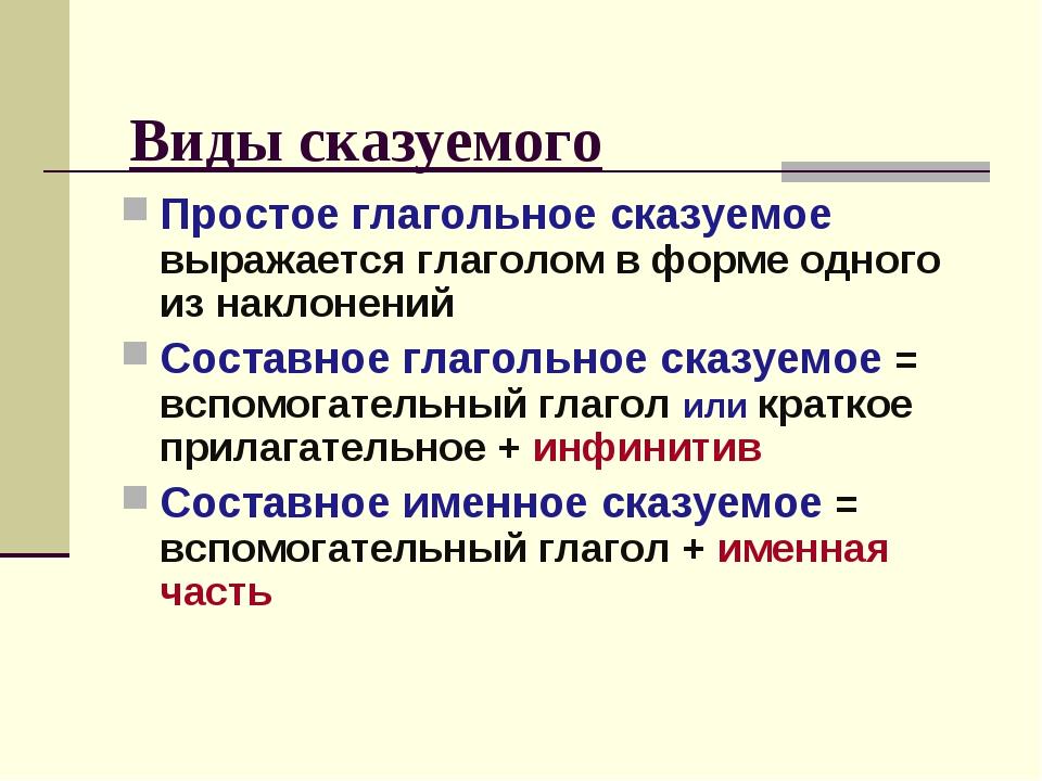 Виды сказуемого Простое глагольное сказуемое выражается глаголом в форме одно...