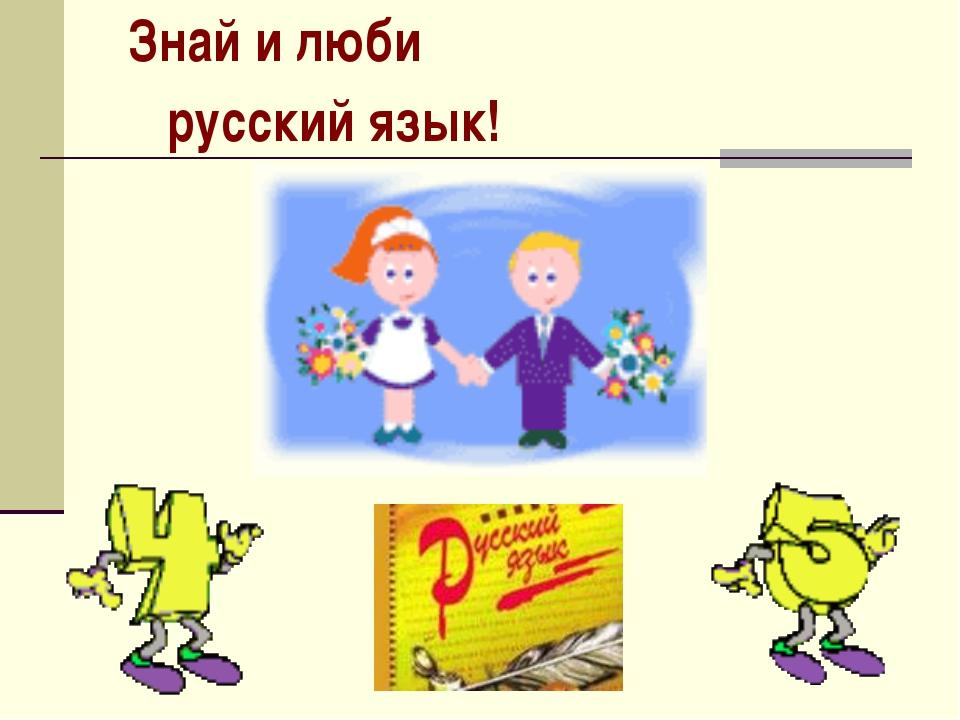Знай и люби  русский язык!