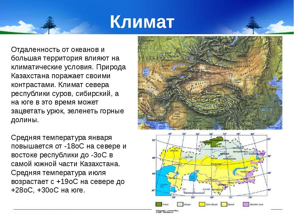 Климат Отдаленность от океанов и большая территория влияют на климатические...