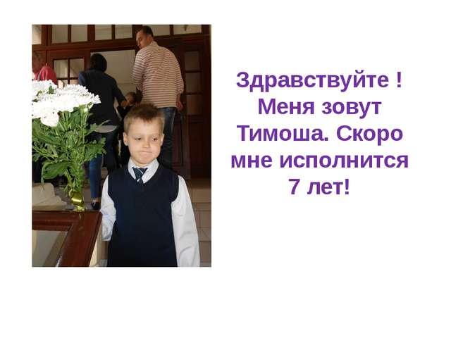 Здравствуйте ! Меня зовут Тимоша. Скоро мне исполнится 7 лет!