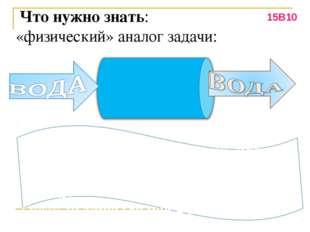 Что нужно знать: «физический» аналог задачи: Пропускная способность – 10 л/м